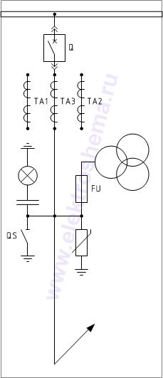 """КРУ  """"ELTEMA """", схема 4.1.  Схема главных цепей.  Шкаф с силовым выключателем и измерительными трансформаторами..."""